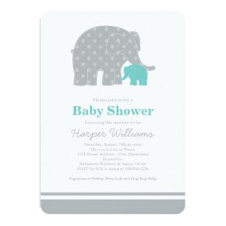 "Elephant Baby Shower Invitations | Aqua Blue Gray 5"" X 7"" Invitation Card"