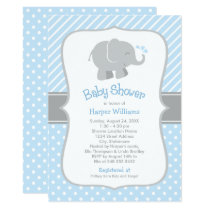 Elephant Baby Shower Invitations | Blue and Gray