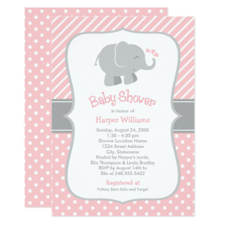 Elephant Baby Shower Invitations | Blush Pink Gray