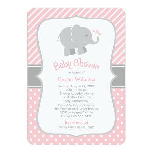Elephant Baby Shower Invitations   Blush Pink Gray 5