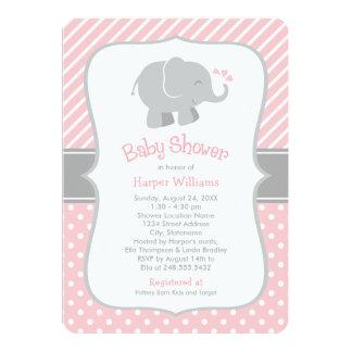 "Elephant Baby Shower Invitations | Blush Pink Gray 5"" X 7"" Invitation Card"