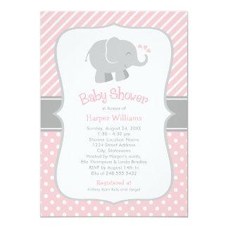 Elephant Baby Shower Invitations | Blush Pink Gray