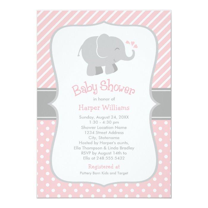 elephant baby shower invitations blush pink gray zazzle