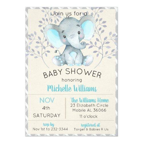 Elephant Baby Shower Invitations Boy Blue
