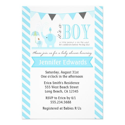 Elephant Baby Shower Invitations Boy Invites Blue