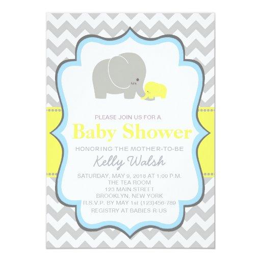 elephant baby shower invitations chevron 5 x 7 invitation card