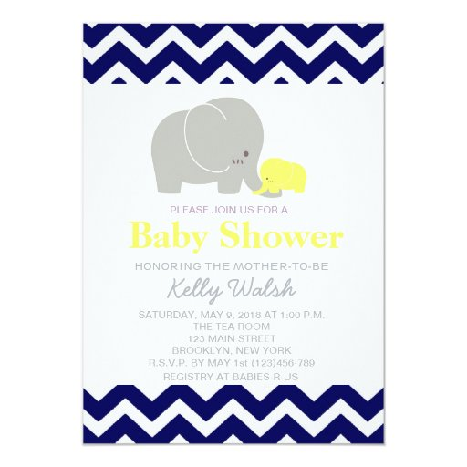 elephant baby shower invitations chevron zazzle