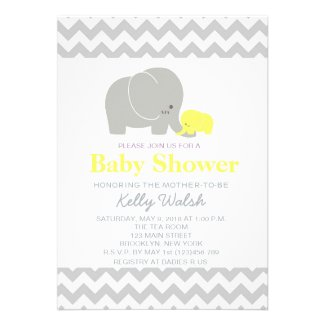 Elephant Baby Shower Invitations Chevron