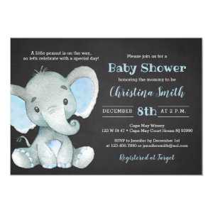 Blue and Gray Elephant Baby Shower Invitations for boys