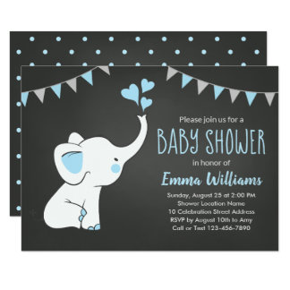 Elephant Baby Shower Invitations for a Boy