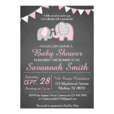 Elephant Baby Shower Invitations for a Girl