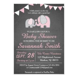 Elephant baby shower invitations zazzle elephant baby shower invitations for a girl filmwisefo