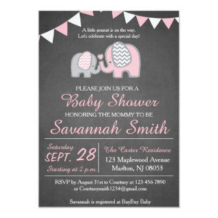 Elephant Baby Shower Invitations For A Girl at Zazzle