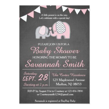Valentines Themed Elephant Baby Shower Invitations for a Girl