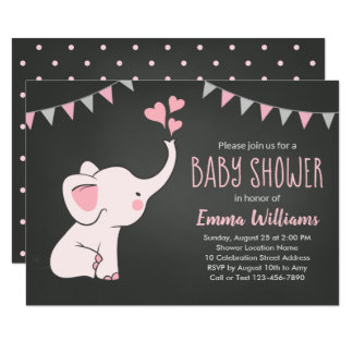 b03848287080 Elephant Baby Shower Invitations for a Girl