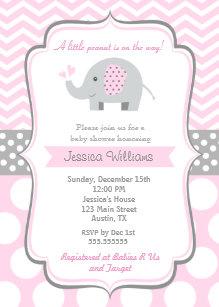 Elephant baby shower invitations zazzle elephant baby shower invitations for girl filmwisefo