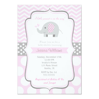 Elephant Baby Shower Invitations For Girl at Zazzle