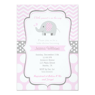 Elephant Baby Shower Invitations for Girl