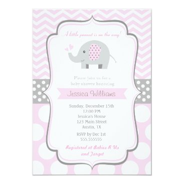 Toddler & Baby themed Elephant Baby Shower Invitations for Girl