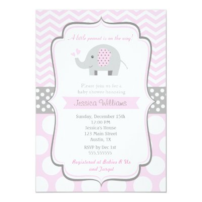 Pink Elephant Baby Shower Thank You Card | Zazzle.com