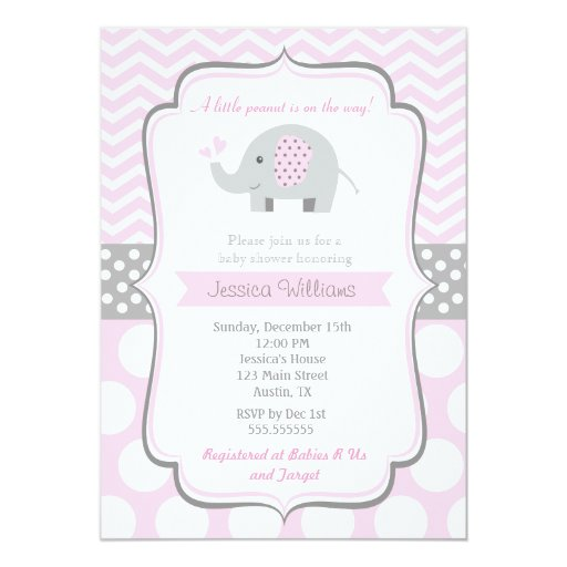 elephant baby shower invitations for girl zazzle