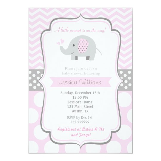 Elephant baby shower invitations for girl zazzle elephant baby shower invitations for girl filmwisefo