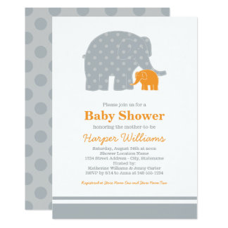 Elephant Baby Shower Invitations | Gray and Orange