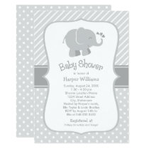 Elephant Baby Shower Invitations | Gray and White