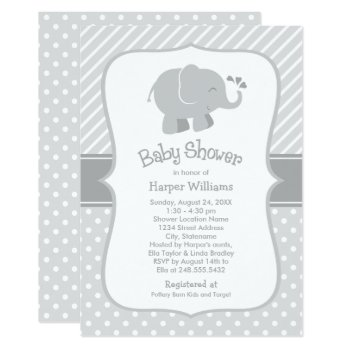 Elephant Baby Shower Invitations | Gray And White by Plush_Paper at Zazzle