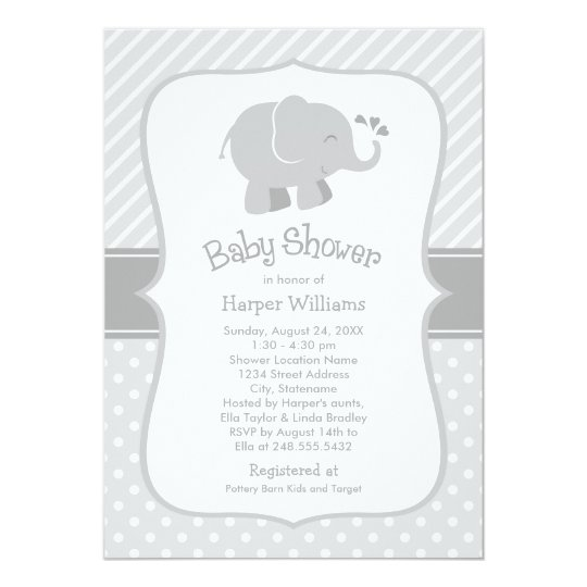 Baby Showers On Saturday Or Sunday ~ Elephant baby shower invitations gray and white zazzle