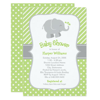 elephant baby shower invitations green and gray