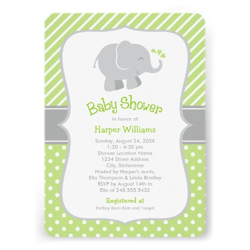 Elephant Baby Shower Invitations | Green and Gray