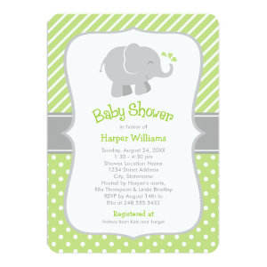 Elephant baby shower invitations cute baby shower invitations elephant baby shower invitations green and gray 5 filmwisefo