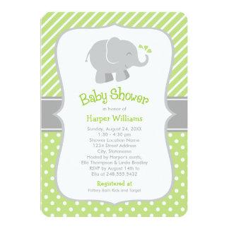 "Elephant Baby Shower Invitations | Green and Gray 5"" X 7"" Invitation Card"