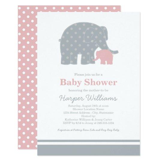 Elephant Baby Shower Invitations | Light Pink Gray