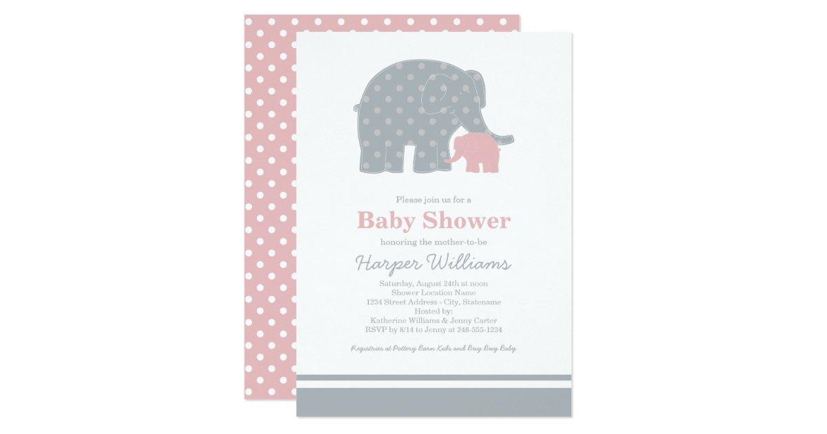 elephant baby shower invitations light pink gray zazzle
