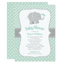 Elephant Baby Shower Invitations | Mint Green