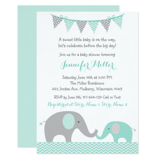 Elephant Baby Shower Invitations Mint Green & Grey