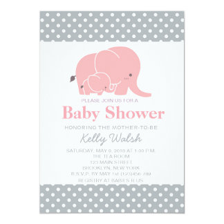 "Elephant Baby Shower Invitations Pink and Gray 5"" X 7"" Invitation Card"