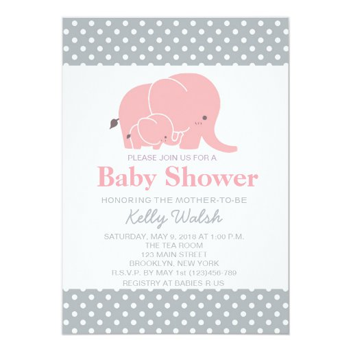 elephant baby shower invitations pink and gray zazzle