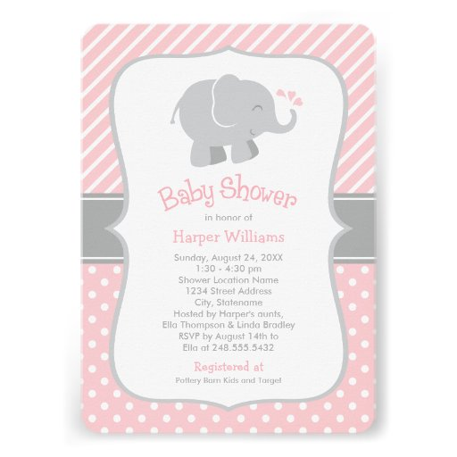 Elephant Baby Shower Invitations | Pink and Gray
