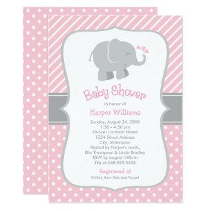 Pink Gray Baby Shower Invitations Zazzle