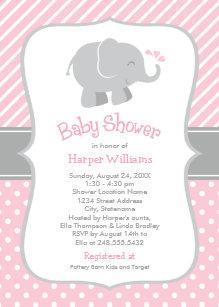 Pink elephant baby shower invitations zazzle elephant baby shower invitations pink and gray filmwisefo