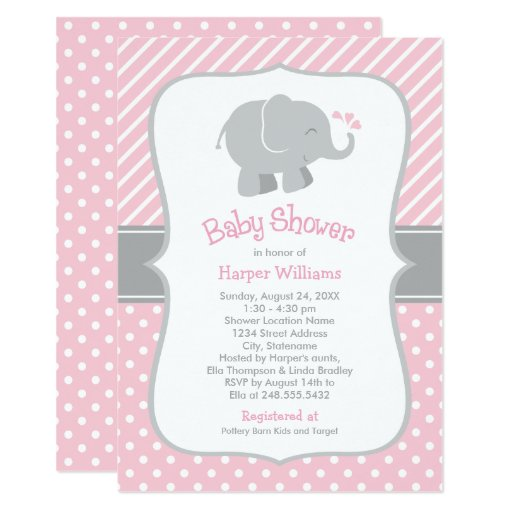 Elephant Baby Shower Invitations Pink and Gray