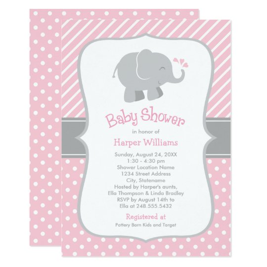 Elephant Baby Shower Invitations Pink And Gray Zazzle Com