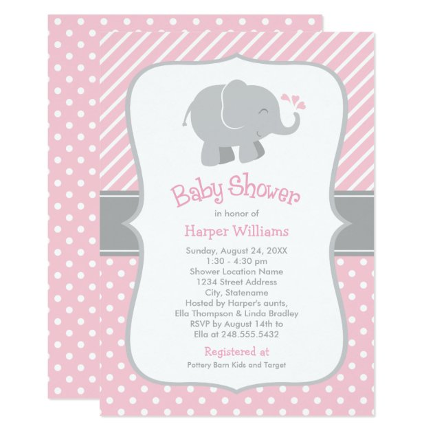Elephant Baby Shower Invitations | Pink and Gray | Zazzle