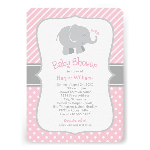 elephant baby shower invitations pink and gray 5 x 7 invitation