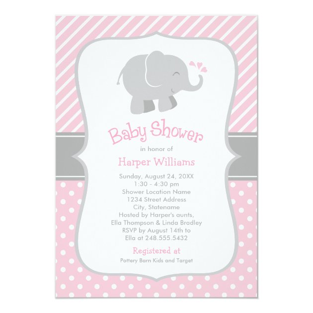 elephant baby shower invitations | pink and gray | zazzle, Baby shower invitations