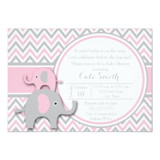 elephant baby shower invitations pink and gray 5x7 paper invitation