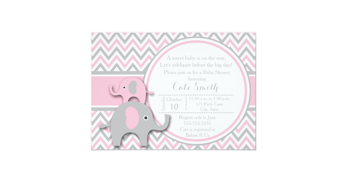 elephant baby shower invitations pink and gray card zazzle